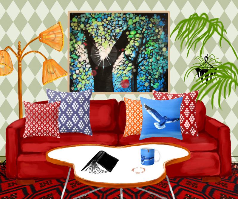Tavlan solglimmer i photoshoppat vardagsrum