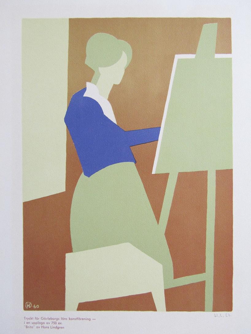 """Grafiskt tryck """"Brita"""" av Hans Lindgren"""