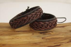 Flätat armband brun/kastanj - 15 centimeter