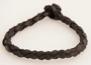 Rundflätat svart läderarmband - 24 cm
