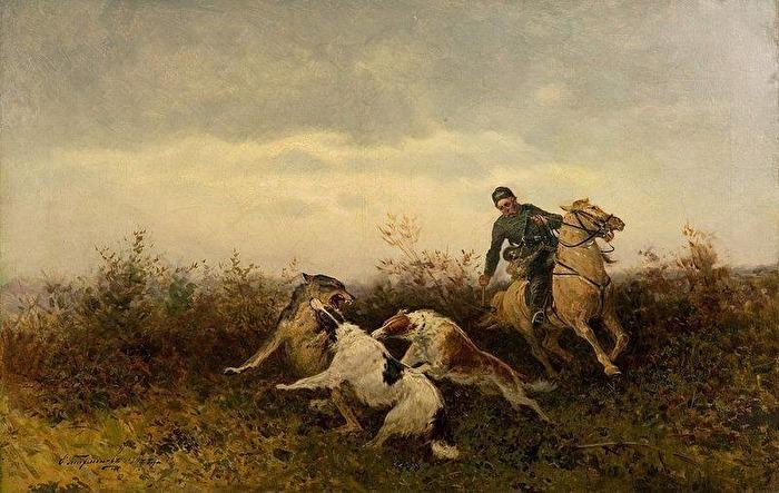Målning av ryske konstnären A. Tichmenev 1904