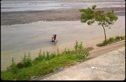 Manuell utvinning av magnetit i flod