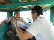 President Casido in boat