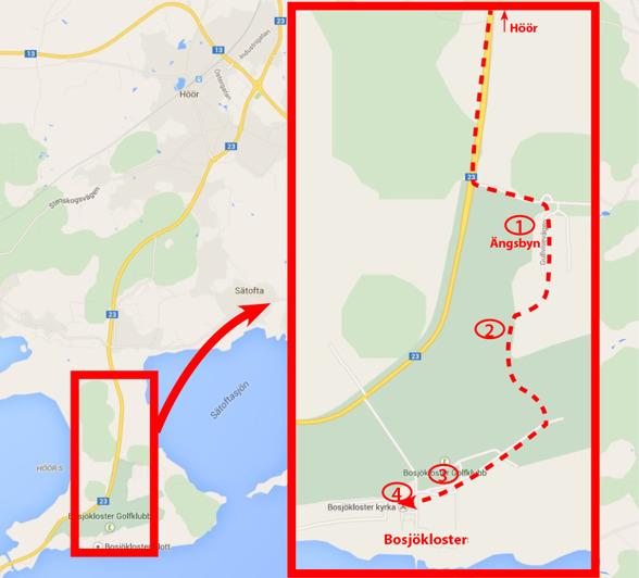 Cykla via Bosjökloster Golfbana