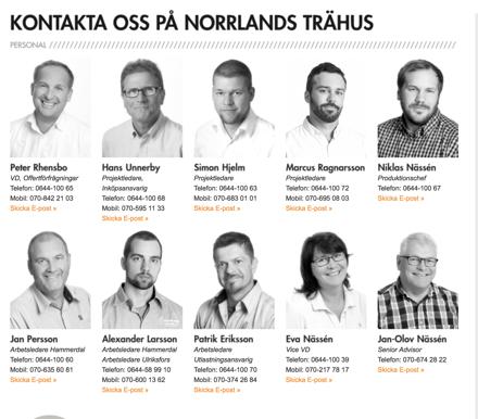 Norrlands Trähus hemsida personalbilder