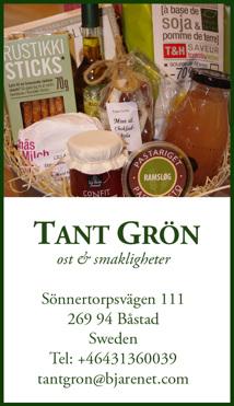 Beställ presentkorg med ost & smakligheter hos Tant Grön på Bjäre utanför Båstad
