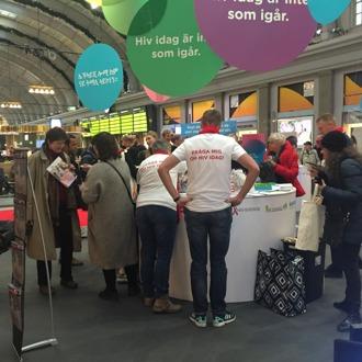 Eventet på Stockholms Central på World Aids Day.