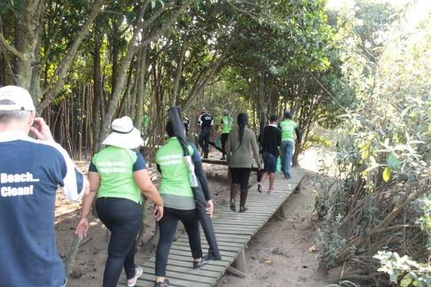 Personal från KZNSB på väg genom mangroveskogen. Bild: David C. Bernvi.