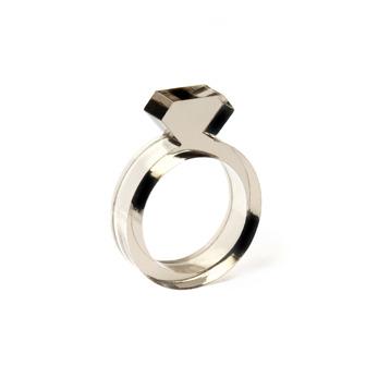 Diamond Acrylic Ring Smoke - Strl 9 / 19 mm