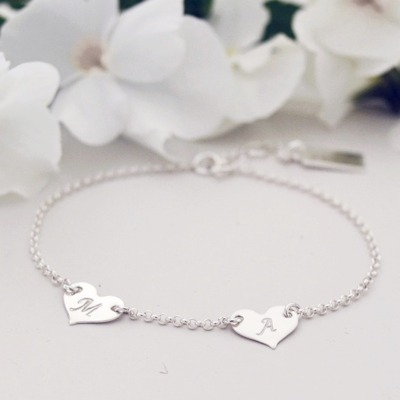 TWO HEARTS armband -silver