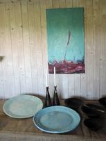 Provance keramikfat i olika nyanser av turkos