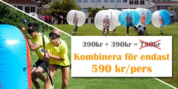 Specialpris: 590kr/pers bubbleball+archerytag kombination