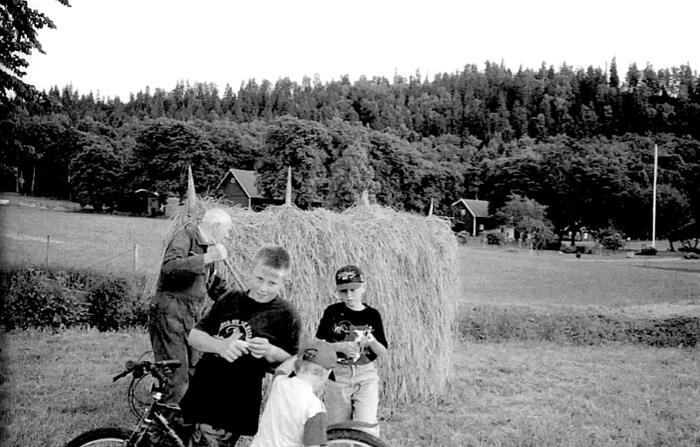 A. 3 (6) Endast digital bild! Sommaren 1997 färdigställs den sista hässjan på Redsvenstorp av Knut Johansson tillsammans med barnbarnen Emil, Erik och Oskar (längst fram). (Bild och text från Varnhemsbygden 2006 ur artikel av Alf Hansson). INsatt av Kent Friman, 2014-02-25. Läs mer på www.ljungstorpshistoria.se!