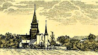 Varnhems Klosterkyrka. Del av grafiskt tryck på aktiebrev för Skövde - Axvalls Järnväg 1903