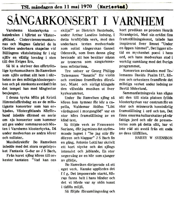 Artikel införd i Tidningen för Skaraborgs län, TSL, måndagen den 11 maj 1970.