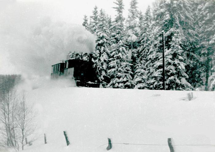 E. 2 (1) Järnvägsspåret på SAJ/VGJ rensades från snö med en speciell plog, en s.k. spårrensare. Här fotograferad vid Storekullen 1937. Fotograf Nils Lann. Insatt av Kent Friman, 2014-20-28. Läs mer på www.saj-banan.se!