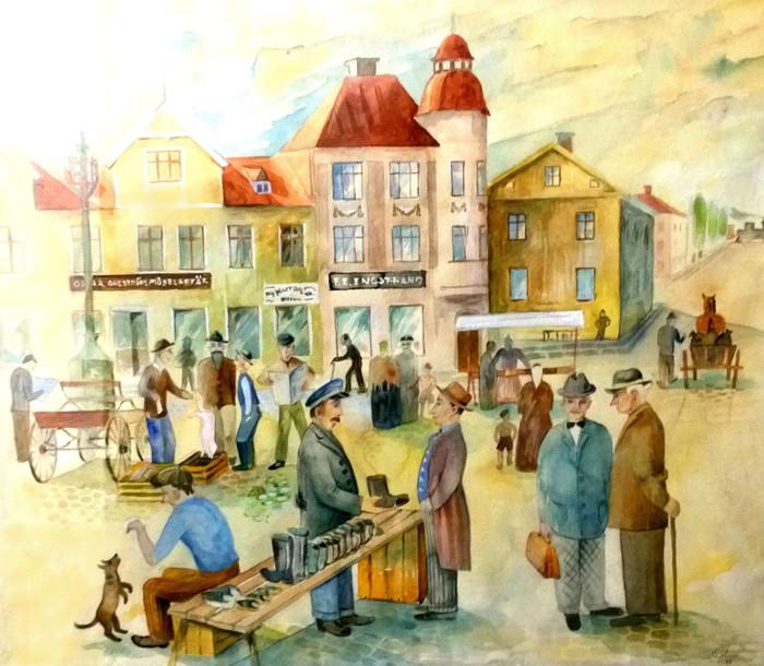 G. 51 Endast digital bild. Akvarell av Fisktorget Skara före 1930, då Engstrands Charkuteri-affär var i fulkl verksamhet vid torget. Bild från Gudrun Ramviken, Sörgården, 2014. Insatt av Kent Friman, 2014-04-28
