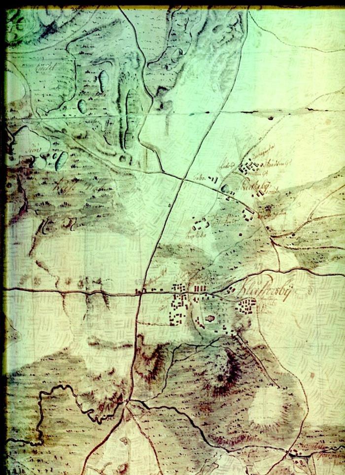Kartan via Olof Cassmark till Carl Arvid Tell, Backa gård, utgör en del av en handritad karta som omfattar området från Skara till Billingen.