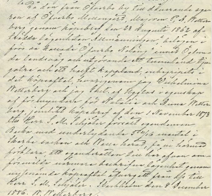 Ur Backa gårdsarkiv handlingar, via Carl Olof Tell, 2014 - uppföljningsbrev vid försäljning av Backa gård.