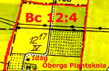 Södra delen av 12:4 saknas på kartan från 1960