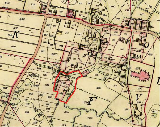 Pickagården med rött utmärkt avseende hus- ladugårdsplats, mm karta 1844
