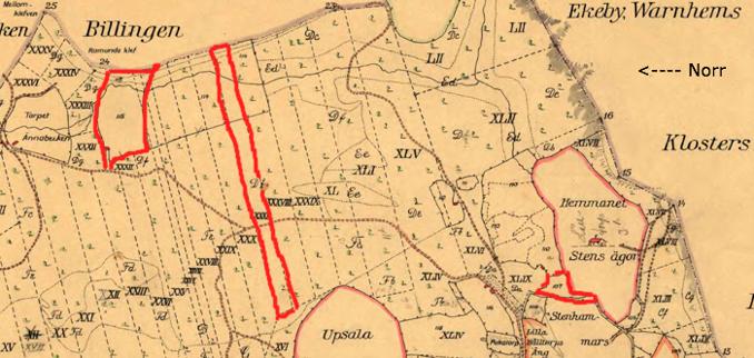 Pickagården i Billingeliderna 1803 års karta med röd markering