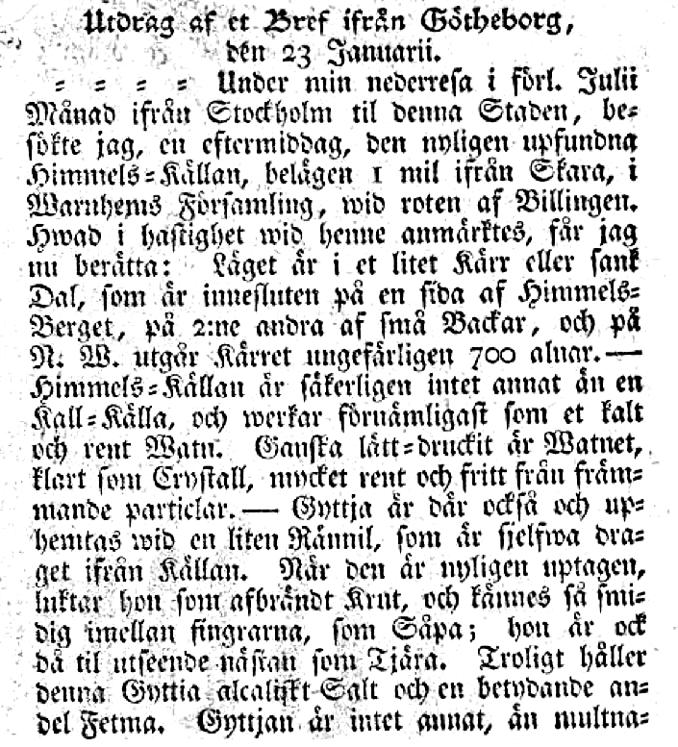 Ur brevet som tillskrivs Andreas Dahl, Post- och inrikes Tidningar 1777