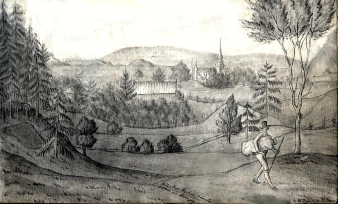 """Klosters kyrka, Himmelskällan och Billingen. 1830 En laverad tuschteckning, av Johan Gustaf Thun (1798-1843). som senare blev kommi-nister i Husaby. Platser han besökte avbildade han och samlade i en bok: """"För ro skull"""", de flesta av de 51 teckningarna är från Västergötland.  Boken finns i förvar hos Stifts- och landsbiblioteket i Skara. Bild tillhandahållen av Margareta Dahlin."""