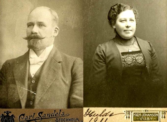 Henning och Hulda Linde i yngre a år (1911). Bilder från Anders Främsts album, Björktuna, Varnhem, 2015