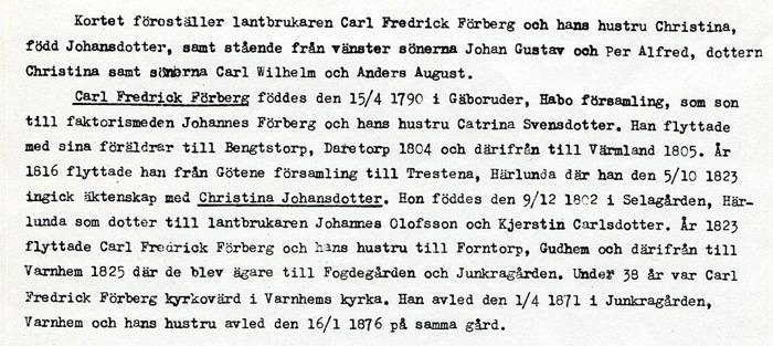 Bild av text från Förbergs samling via Astrid Blomqvist, Tomten, 2015