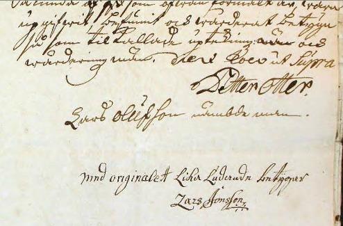1748 snygg namnteckning av Petter Otter som tingsnotarie vid Walla häradsrätt - med tillstånd av www.arkivdigital.se
