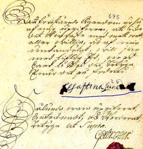 Bouppteckningsuppgivare Christina Lundahls underskrift  16 januari 1765 - efter mormoderns död 1764 i december - med tillstånd av www.arkivdigital.se