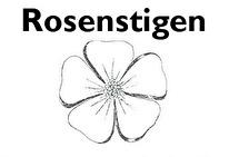 Stigen är markerad på pålar med rosen Alba rosa minette, Gudhems-rosen  ritad av Ebon Lundgren