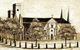 Skara Domkyrka före 1864 - Hospital lär här vid Domkyrkan blifvit anlagdt begåfvadt d 1 Aug 1293. (Erik Tuneld)