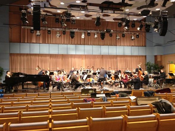 Dalasinfoniettan, conductor Alexander Hanson and Nils Landgren during rehearsal in Kristinehallen, Falun.