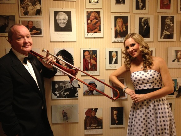 Nils Landgren and Hannah Holgersson by the Wall of Fame at Cassels