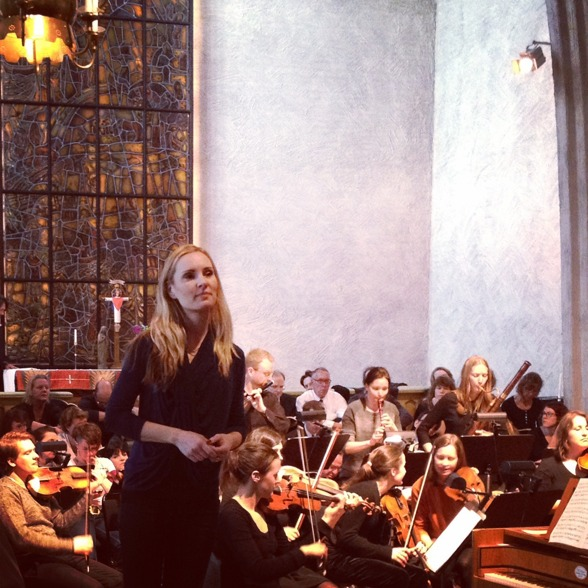 Hannah Holgersson during dress rehearsal of C minor Mass by Mozart in Essinge Church last Sunday!