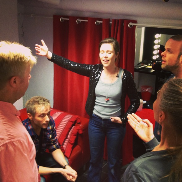 The Real Group warming up before performance. From the left: Anders Jalkéus, Anders Edenroth, Emma Nilsdotter, Morten Vinther and Katarina Henryson