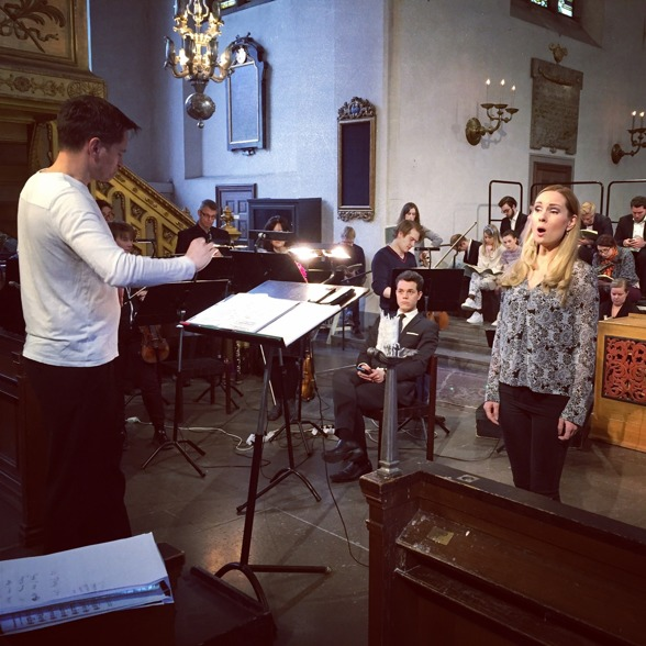 Dress rehearsal of the St John Passion in S:t Jacob's Church. REbaroque, conductor Mikael Wedar and soprano Hannah Holgersson
