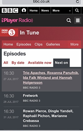 Hannah Holgersson and Ida Falk Winland at BBC In Tune