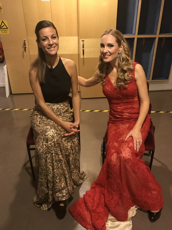 Claudia Bonfiglioli and Hannah Holgersson backstage during concert