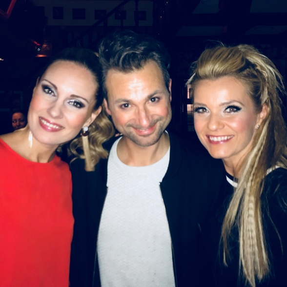Hannah Holgersson , Ola Salo and Jenna Lee-James enjoying the premier of Chapions of Rock