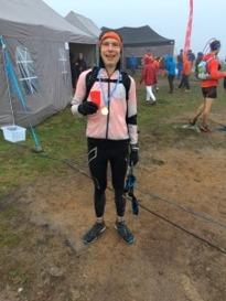 Trött, blöt och lycklig på mållinjen. Foto: Dennis Brännmyr