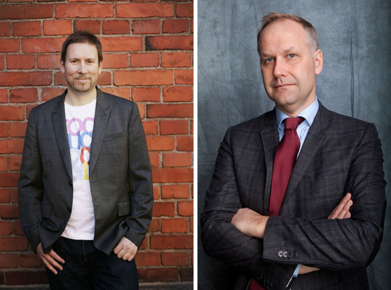 Vänsterförbundets ordförande Paavo Arhinmäki och Vänsterpartiets ordförande Jonas Sjöstedt.