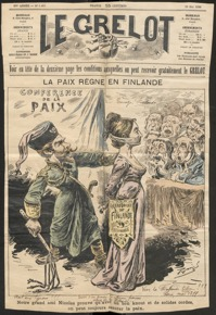 Fransk skämtteckning om situationen i Finland och Ryssland. Fotot är en del av utställningen Pro Finlandia.