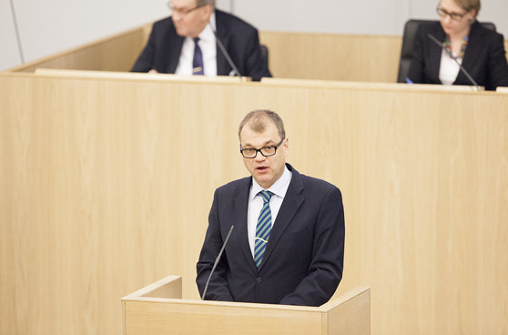 Suomen pääministeri Juha Sipilä, Keskusta. Kuva: Hanne Salonen / Eduskunta.