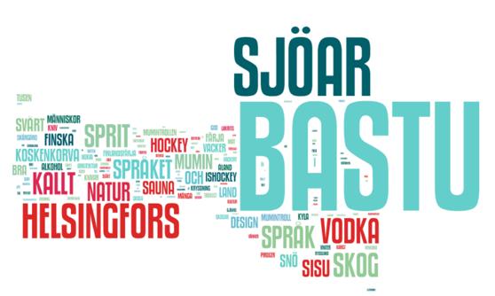 Ruotsalaiset ajattelevat muun muassa näitä sanoja, kun he ajattelavat Suomea. Kuvakaappaus raportista.
