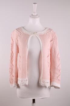Cloetta handgjord tröja - Tröja Cloetta-laxrosa/vit  storl. S