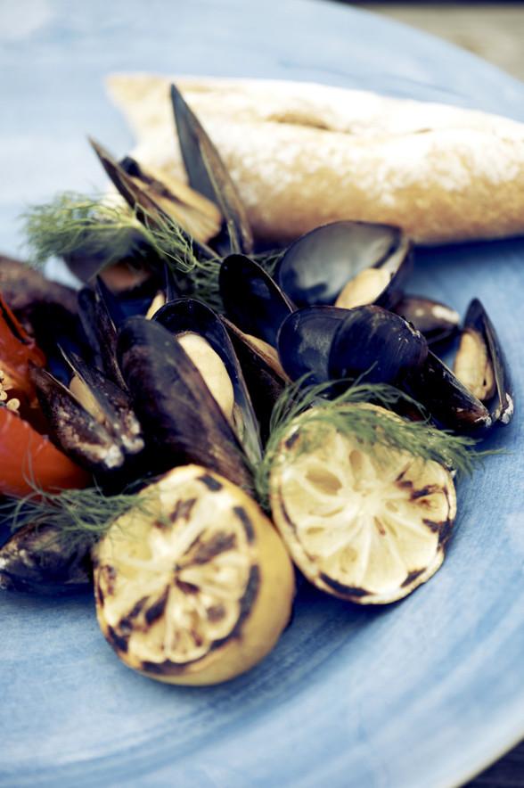 Musslor och grillad citron. Foto: Mikael Söderqvist