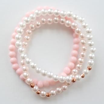 Tre armband - Tre armband rosa/vit/guld